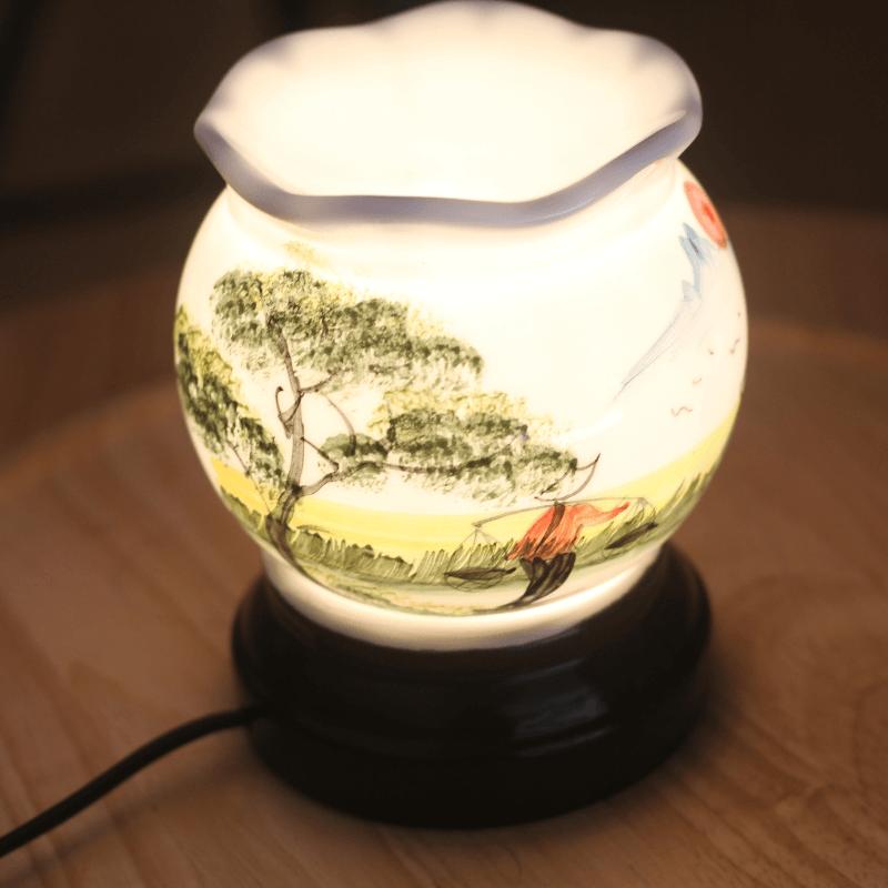Đèn xông tinh dầu họa tiết cánh đồng quê