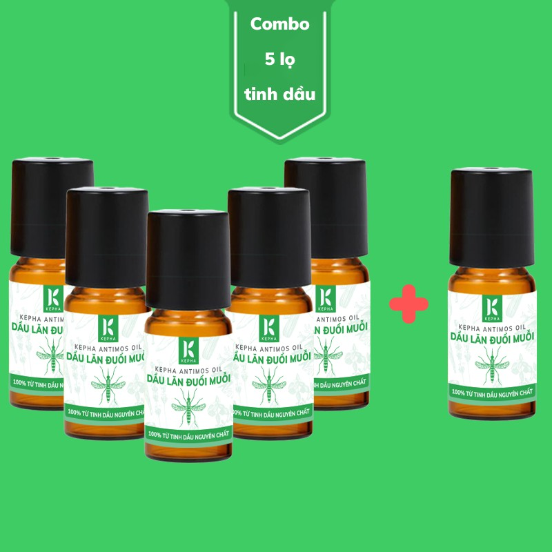 Kepha Antimos Oil - Combo Mua 5 Lọ Tặng 1 Lọ Dầu Lăn Đuổi Muỗi Antimos