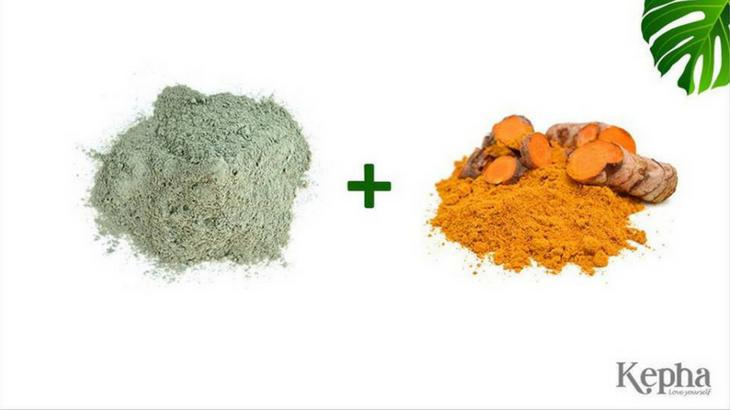 bùn  khoáng xanh kepha kết hợp với bột nghệ