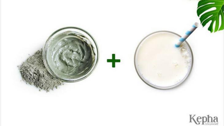 bùn  khoáng xanh kết hợp với sữa tươi không đường