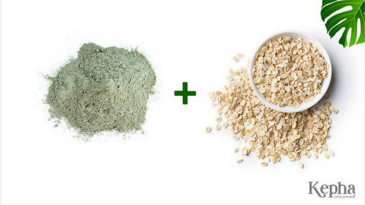 bùn khoáng xanh kepha kết hợp với bột yến mạch