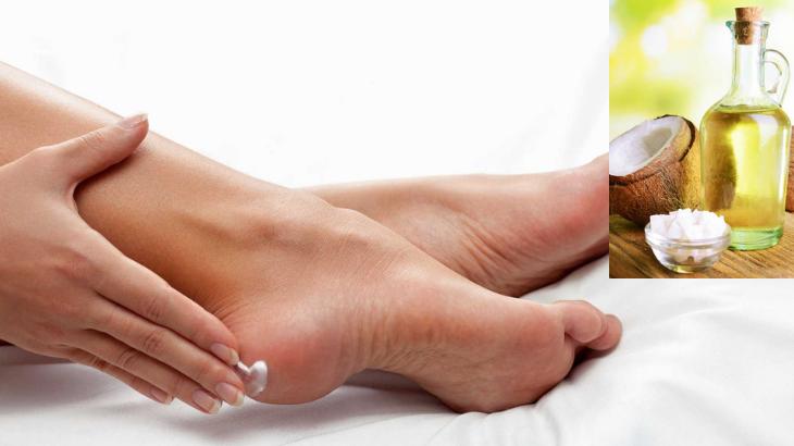 Kết quả hình ảnh cho dầu dừa cho gót chân